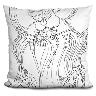 Art Deco Lady Bird Throw Pillow Color: Black/White