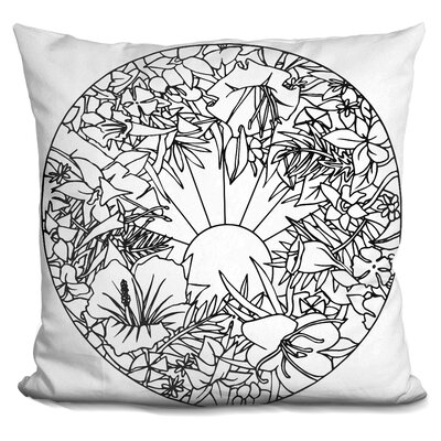 Circle Fleurs Throw Pillow Color: Black/White