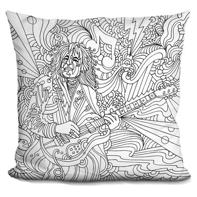 Guitar Player Throw Pillow Color: Black/White