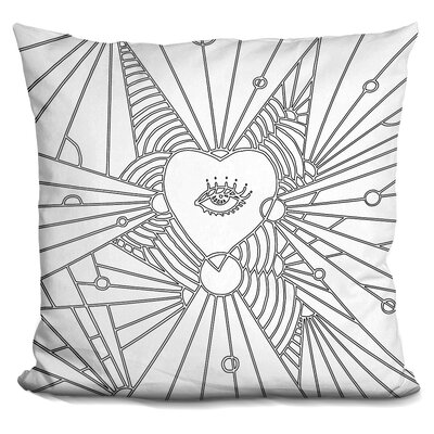 Heart Eye Throw Pillow Color: Black/White
