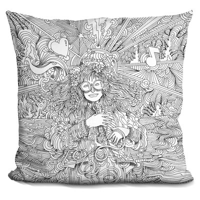 Hippie Chick Throw Pillow Color: Black/White
