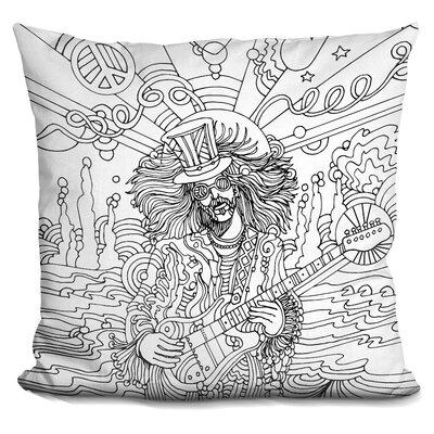 Hippie Musician III Throw Pillow Color: Black/White
