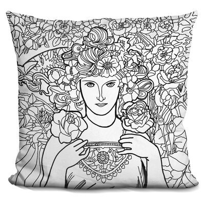 Mucha Lady Throw Pillow Color: Black/White
