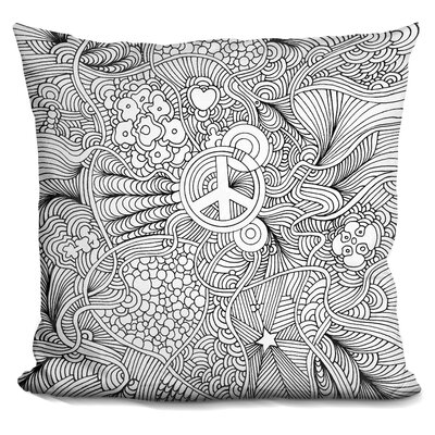 Peace Sign Throw Pillow Color: Black/White