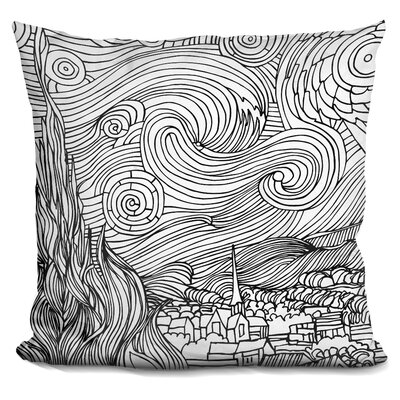 Starry Night Throw Pillow Color: Black/White