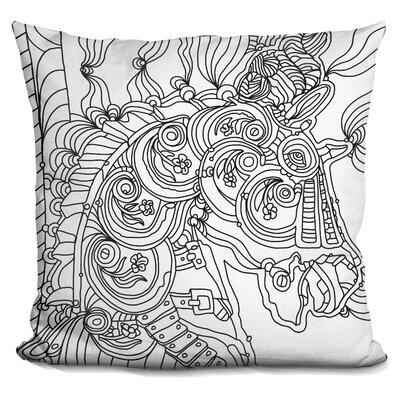 Carousel Pony Lineart Throw Pillow