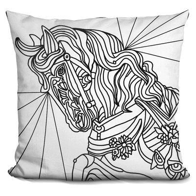 Carousel Pony Lineart Throw Pillow