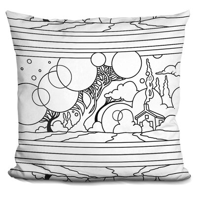 Circle Tree Landscape Lineart Throw Pillow