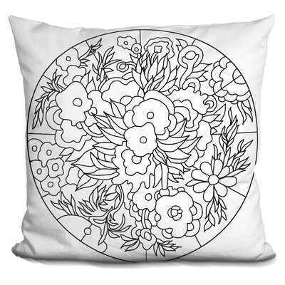 Flower Circle Throw Pillow Color: Gray