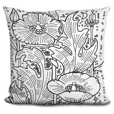 Hollyhocks Throw Pillow Color: Black/White
