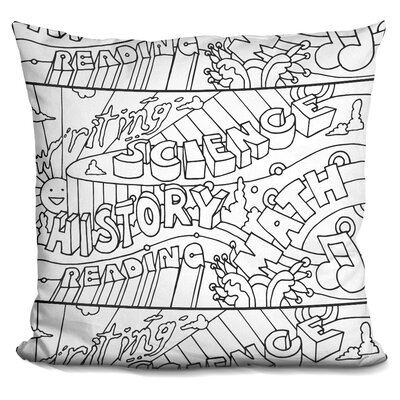 School Courses Throw Pillow Color: Black/White