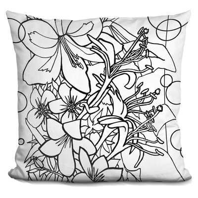 Kville Flowers Throw Pillow Color: Black/White