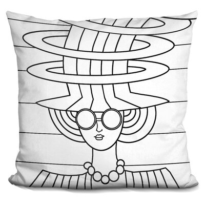 Lady Hat Throw Pillow Color: Black/White