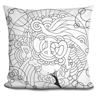 Love Music Circle Throw Pillow Color: Black/White