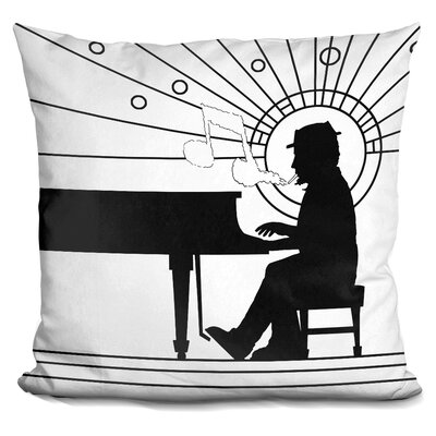Piano Player Throw Pillow Color: Black/White