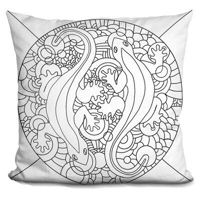 Salamanders Throw Pillow Color: Black/White