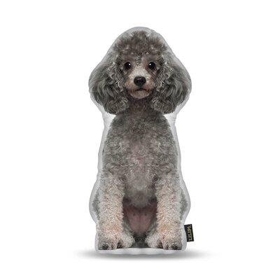Poodle Gray Throw Pillow