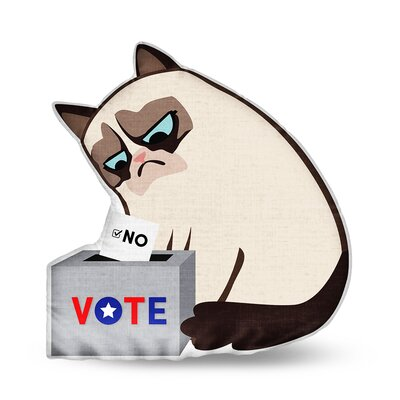 Voting Grumpy Throw Pillow