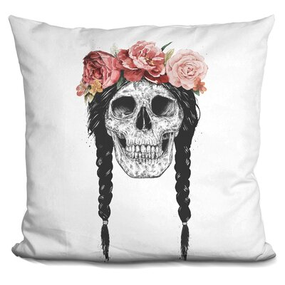 Festival Skull Throw Pillow
