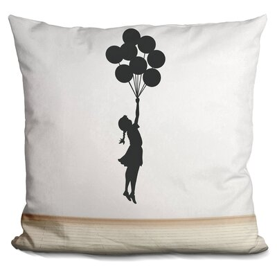 Flying Baloon Girl Throw Pillow