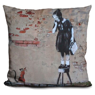 Girl and Mouse Throw Pillow