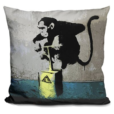 Monkey Tnt Detonator Throw Pillow