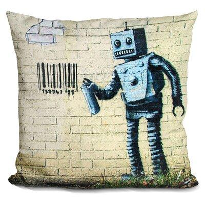 Robot and Barcode Throw Pillow