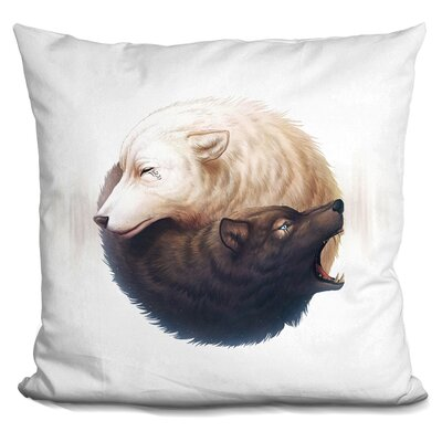 Yin and Yang Wolves Throw Pillow