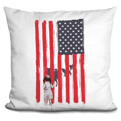 Little Girl and Wolves Throw Pillow