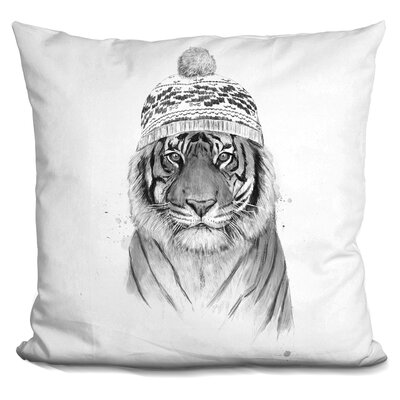 Pawlak Siberian Tiger Throw Pillow Color: Black/White