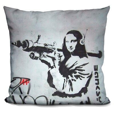 Mona Lisa Bazooka Throw Pillow
