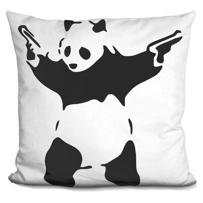 Panda with Guns Throw Pillow