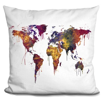 Corlew World Map Autumn Throw Pillow
