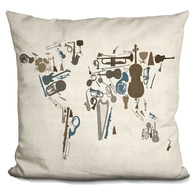 Corlew World Map Musical Instruments Throw Pillow