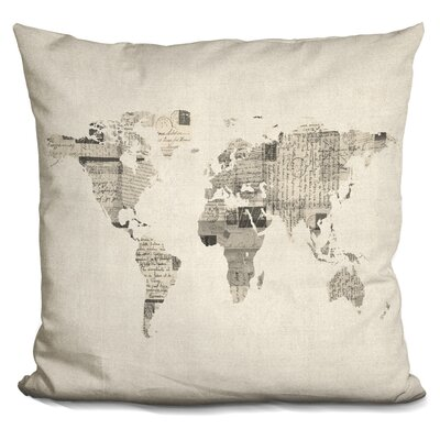 Corlew World Map Postcards Throw Pillow