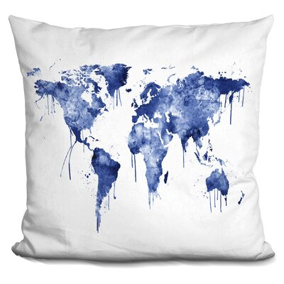 Corlew World Map Throw Pillow Color: Blue