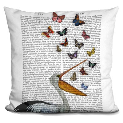 Pedrick Pelican and Butterflies Throw Pillow