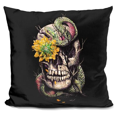Snake and Skull Throw Pillow Color: Black/Yellow