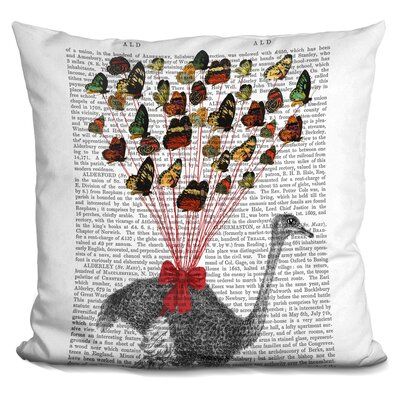 Pedroza Ostrich Flying with Butterflies Throw Pillow
