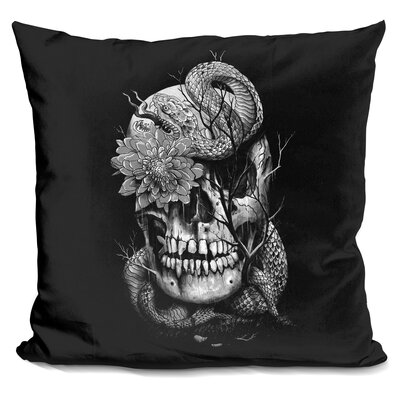 Snake and Skull Throw Pillow Color: Black/White