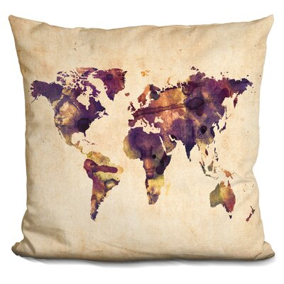 Corlew World Map Watercolor Throw Pillow Color: Beige