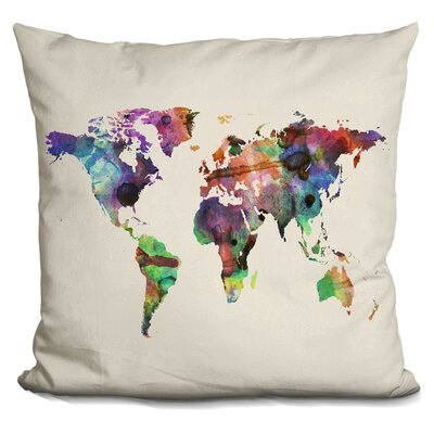 Corlew World Map Watercolor Throw Pillow Color: White