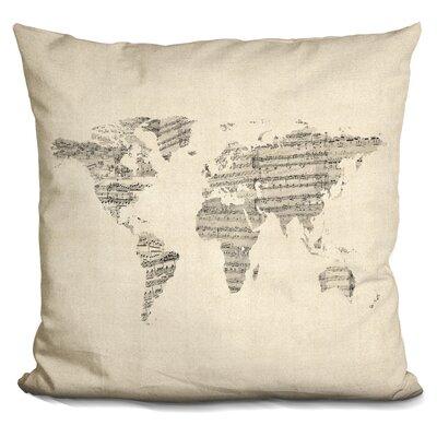 Harner World Sheet Music Map Throw Pillow