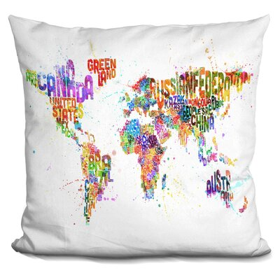 Harness World Text Map Paint Splashes Throw Pillow