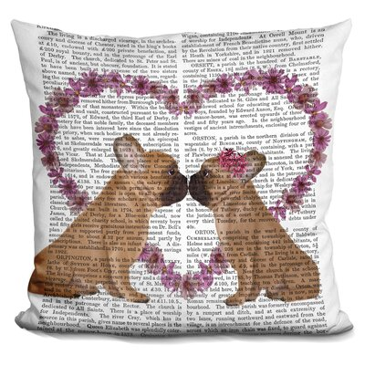 Peebles French Kiss and Flower Heart Throw Pillow