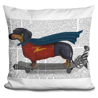 Coreopsis Dachshund on Skateboard Throw Pillow