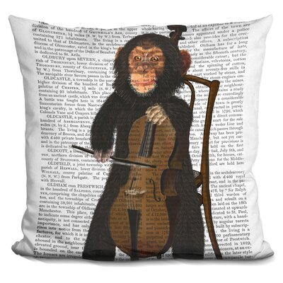 Peeler Chimp Playing Cello Throw Pillow