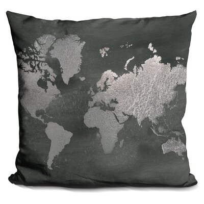Javier Foil World Map Throw Pillow Color: Silver