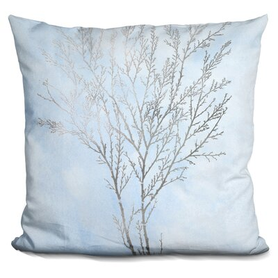 Gerrish Silver Foil Algae on Blue Throw Pillow