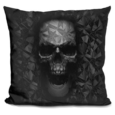 Skull Throw Pillow Color: Black